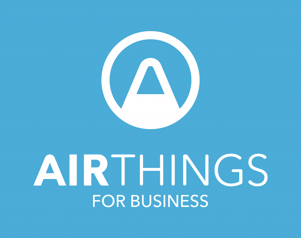 Airthings for Business LOGO - Standard - White on Blue